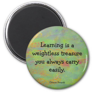 Chinese proverb on learning as a treasure 2 inch round magnet