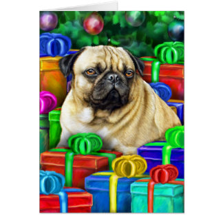 Chinese Pug Christmas Open Gifts NOW Greeting Card