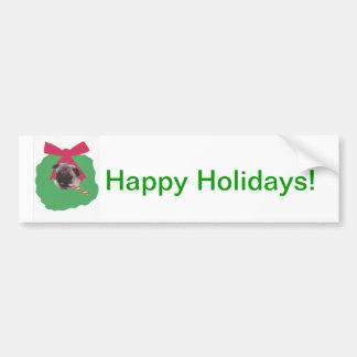 Chinese Pug Holiday Wreath Bumper Sticker