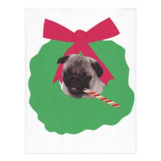 Chinese Pug Holiday Wreath Postcard
