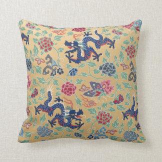 Chinese Qing Dragon Pattern Yellow Vintage Fun Throw Pillow