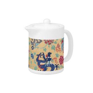 Chinese Qing Dragon Pattern Yellow Vintage Teapot