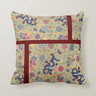 Chinese Qing Dragon Pattern Yellow Vintage Throw Pillow
