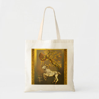 Chinese Ram Under Moon and Plum Branches Tote Bag