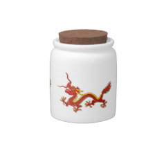 Chinese Red And Gold Dragon Candy Jar at Zazzle