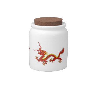Chinese Red And Gold Dragon Candy Jar