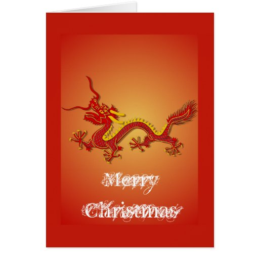 Chinese Red And Gold Dragon Christmas Card