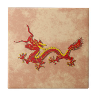 Chinese Red And Gold Dragon Cooking Trivet Tile