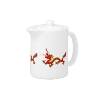 Chinese Red And Gold Dragon Dragon Teapot at Zazzle