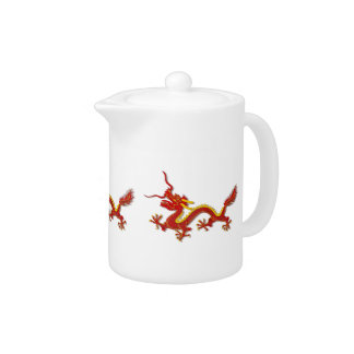 Chinese Red And Gold Dragon Dragon Teapot