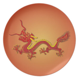 Chinese Red And Gold Dragon Plate at Zazzle