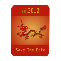 Chinese Red And Gold Dragon Save The Date Magnet at Zazzle