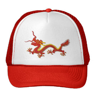 Chinese Red And Gold Dragon Sports Team Hat