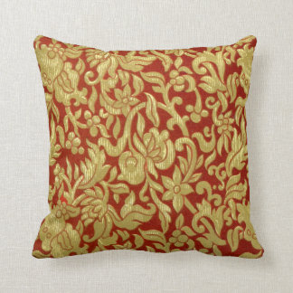 Chinese Red and Gold Pattern Throw Pillow