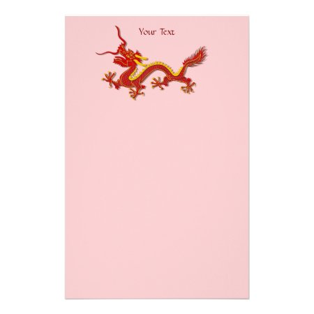 Chinese Red And Gold Year Of The Dragon Writing Stationery