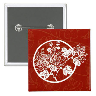 Chinese Red Chrysanthemum Glory 2 Inch Square Button