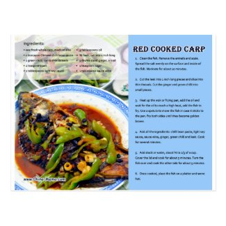 Chinese Red Cooked Carp Recipe Postcard