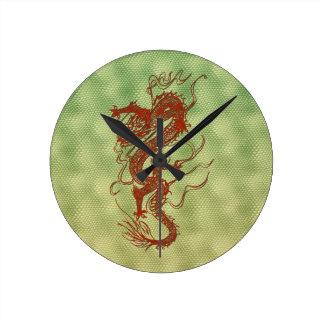 Chinese Red Dragon Fantasy Art Designer Gift Clock
