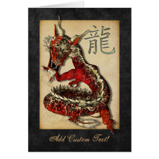Chinese Red Dragon Greetings & Notecards Greeting Card