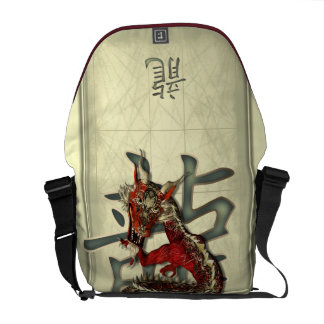 Chinese Red Dragon Courier Bag