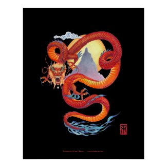 Chinese Red Dragon print on black