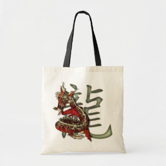 Chinese Red Dragon Tote Bags