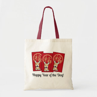 Chinese Red Envelope Lucky Corgi Year of the Dog Tote Bag