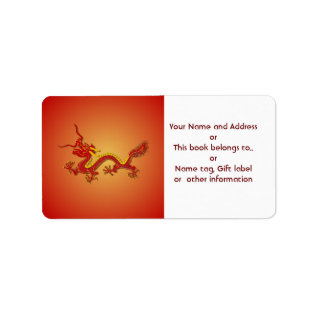 Chinese Red Gold Dragon Name and Address Label at Zazzle