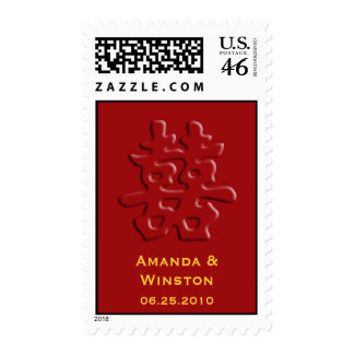 Chinese red hei wedding double happiness stamps
