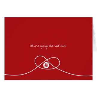 Chinese Red Knot Double Happiness Wedding Card