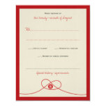 Chinese Red Knot Double Happiness Wedding RSVP Card