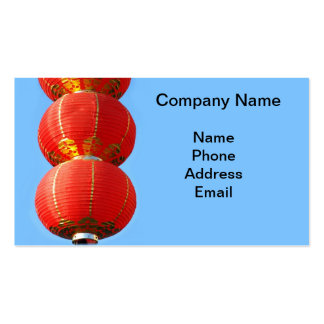 Chinese Red Lanterns against a Blue Background Business Card Template