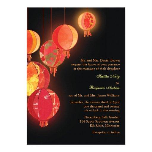 Chinese Red Lanterns Modern Formal Wedding Invites