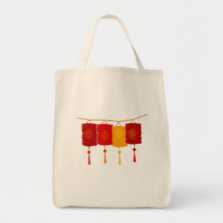 Chinese red lanterns New Year good luck graphic Tote Bag