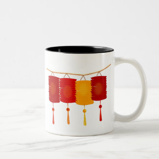 Chinese red lanterns New Year good luck graphic Two-Tone Coffee Mug