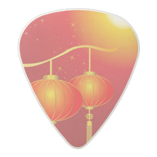 Chinese red paper lanterns with full moon acetal guitar pick