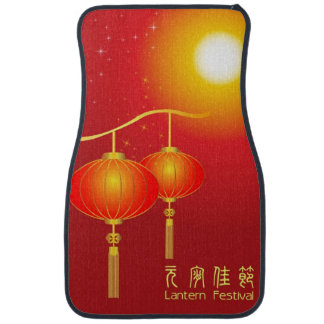 Chinese red paper lanterns with full moon floor mat
