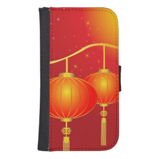 Chinese red paper lanterns with full moon galaxy s4 wallet case
