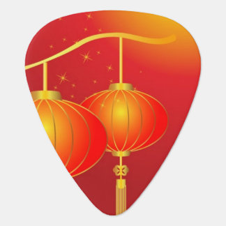 Chinese red paper lanterns with full moon guitar pick