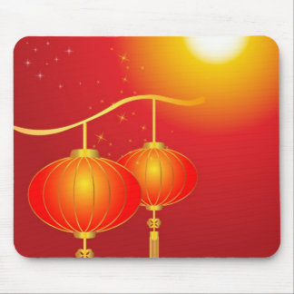 Chinese red paper lanterns with full moon mouse pad