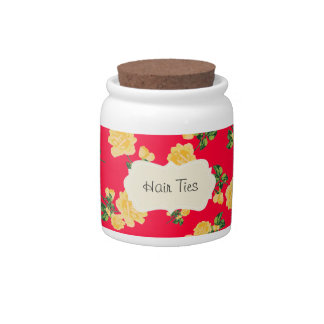 Chinese red Personalized yellow roses floral jar Candy Jar