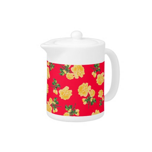 Chinese Red Yellow roses Floral pattern teapot