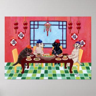 Chinese Restaurant Labradors Artwork Poster