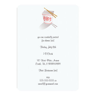 Chinese Restaurant Takeout Box 5x7 Paper Invitation Card