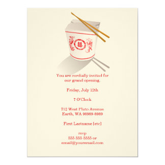 Chinese Restaurant Takeout Box 6.5x8.75 Paper Invitation Card