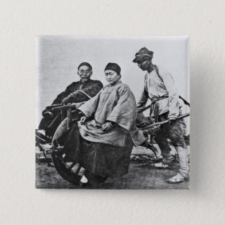 Chinese rickshaw, c.1870 (b/w photo) pinback button