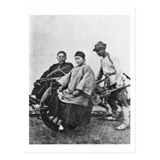 Chinese rickshaw, c.1870 (b/w photo) postcard