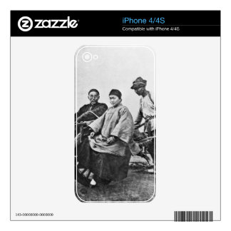 Chinese rickshaw, c.1870 (b/w photo) skins for iPhone 4