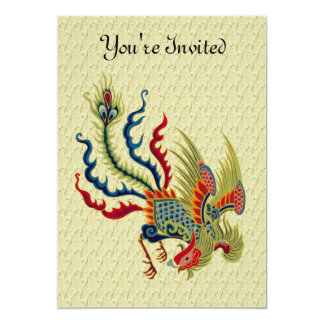 Chinese Rooster Art Design Invitation