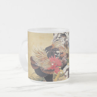 Chinese Rooster New Year 2017 Japanese Art glass M Frosted Glass Coffee Mug